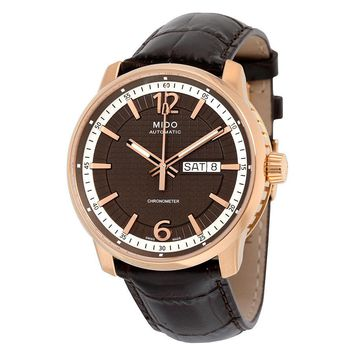 Mido Great Wall Black Dial Brown Leather Automatic Mens Watch M0196313629700