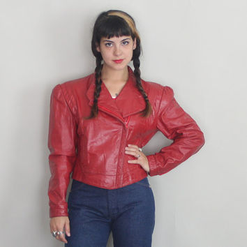 80s RED LEATHER JACKET - Vintage 1980s Wilsons Asymmetrical Cropped Jacket - medium