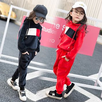 Spring Autumn Children Girls Clothing Set Brand Fashion Suit 4-16 Years Kids Tracksuit Sweatshirts + Pants leisure Baby Clothes