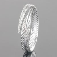 2016 Hot Sell Girl's Vintage Silver Plated Feather Cuff Bracelet Adjustable Opening Bangle Jewelry