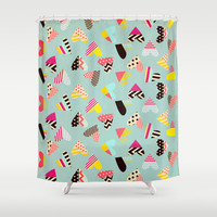 Pieces of Heart Shower Curtain by Louise Machado