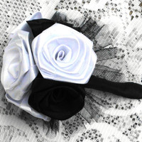 Fabric Flower Bridal Bouquet, Custom, Roses, Satin, Classic, Vintage, Black and White, Wedding, Flowers