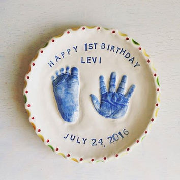 Personalized First Birthday Plate - Custom 1st Birthday Plate - First Birthday Plate - Ceramic Birthday Plate - First Birthday Gift - Gift