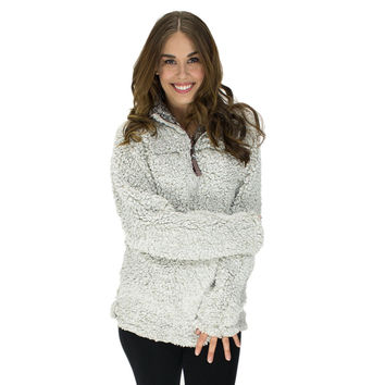 Frosty Tipped Pile 1/2 Zip Pullover in Putty by True Grit