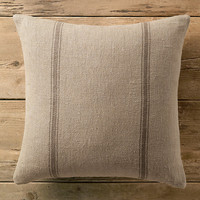 Vintage French Grain-Sack Linen Double Stripe Pillow
