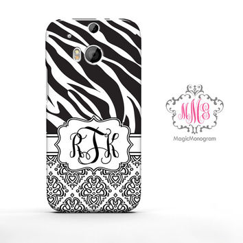 Zebra Loopy Damask HTC Case M9, M8 Case