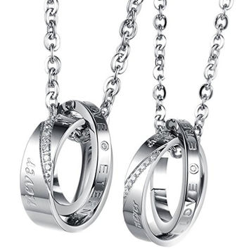 Double Rings Matching Engraved Love Pendant Couple Necklaces