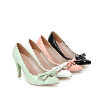 Bow Thin Heel Pumps High Heels Fashion Women Shoes 3975