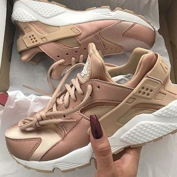 """NIKE""AIR Huarache Running Sport Casual Shoes Sneakers Rose golden H-AA-SDDSL-KHZHXMKH"