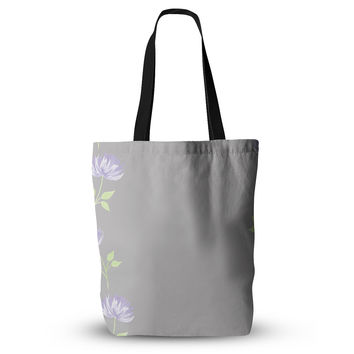 "Louise ""Flower II"" Gray Purple Everything Tote Bag"