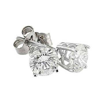 Gorgeous DIAMOND STUDS EARRINGS 2 carats ROUND stud earring