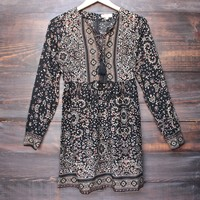 long sleeve bohemian print lattice dress