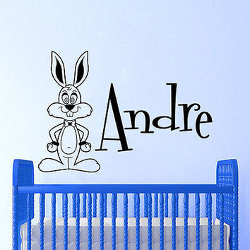 name Wall Decals Names Rabbit Bunny Decal Boy Nursery Room Decor Sticker DA3721