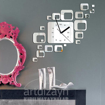 Shatterproof mirror decorative wall clock , square shape, contemporary design, large