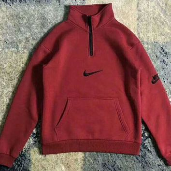 PEAPUF3 Nike Fashion High Neck Zipper Embroider Logo Long Sleeve Sweater Wine red G-WMGCD