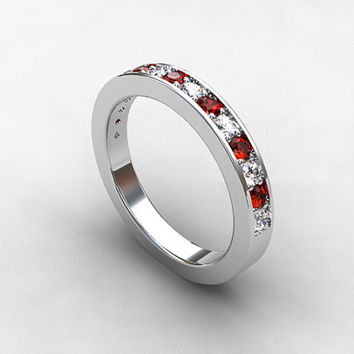 Red and white sapphire wedding band, white gold, yellow gold, rose gold, red sapphire ring, unique wedding band, half eternity, red gemstone