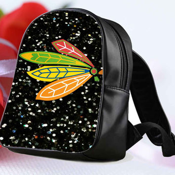 NHL Chicago Blackhawks on Sparkle for Backpack / Custom Bag / School Bag / Children Bag / Custom School Bag **