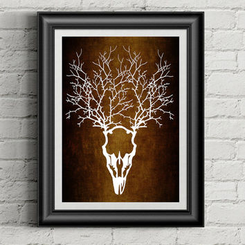 Deer Skull Art, Paper Cut Art, Nature Art, Deer Antler Decor, Tribal Wall Art, Rustic Home Decor, Bohemian Art, Native Ethnic Art