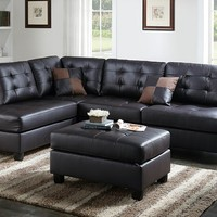 3 pc Martinique II collection espresso faux leather upholstered sectional sofa with reversible chaise and ottoman