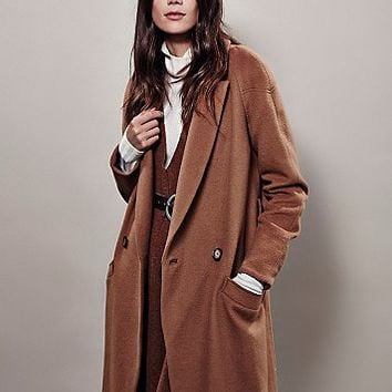 Free People Womens Slim Long Overcoat