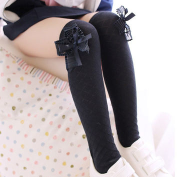 Lovely Kids Girls Cotton Footed Tights School High Knee Bow Stockings  SM6