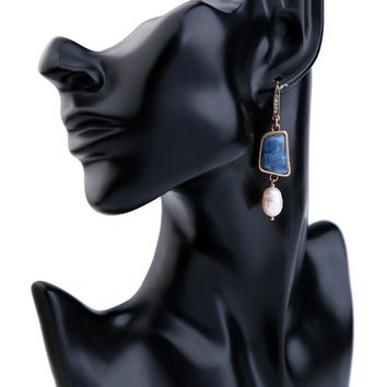 Women Blue Pearl Drop Earring