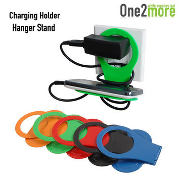 New Foldable Wall Charger Adapter Charging Holder Hanger Stand for Hanging Cell Phone Cellphone Mobile MP3 MP4 Stand For iPhone6