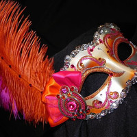 Venetian Masquerade Mask in Orange, Hot Pink and Silver