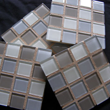 Mother's Day Gift Idea, Blue & Gray Glass Mosaic Coasters,  Housewarming, Hostess, Trivets, Unisex Gift