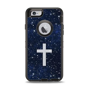 The Vector White Cross v2 over Bright Starry Sky Apple iPhone 6 Otterbox Defender Case Skin Set