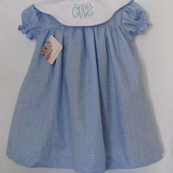 Baby Girls Easter Dress Toddler Portrait Dress Blue Special Occasion Toddler Dress FREE Personalization 3m,18m,2T,3T,4T,5T and 6T