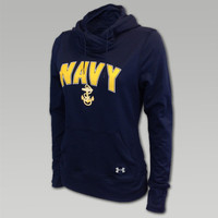 NAVY UNDER ARMOUR WOMENS LOGO HOOD