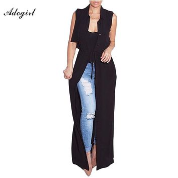 Adogirl 2017 Fashion Sleeveless Trench Coat Balck Chiffon Duster For Women Summer Overcoat Outwear Causal Robe Long Trench