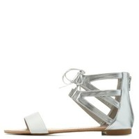 White/Silver Lace-Up Caged Ankle Cuff Sandals by Charlotte Russe