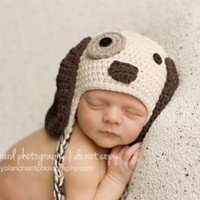 Melondipity Boys Little Puppy Dog Newborn Baby Hat - Crochet Animal Beanie (newborn)