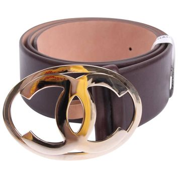 Chanel Leather Belt - dark brown/silver