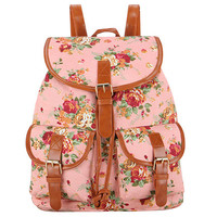 Floral Print Vintage Rucksack Canvas Women Backpack School Bag Sac a Dos