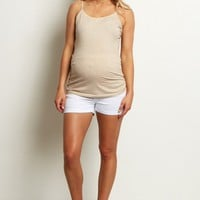 White-Basic-Maternity-Shorts