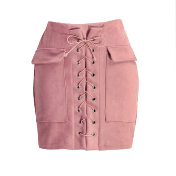 Vintage Lace Up Suede Leather High Waist Short Pencil Skirt in Pink