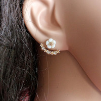 EARINGS leaf ear jackets whit CZ crystals Earings,bridal earrings,handmade,everyday,birthday