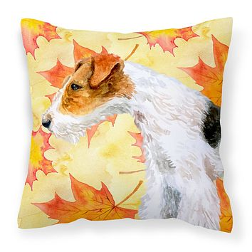 Fox Terrier Fall Fabric Decorative Pillow BB9911PW1414