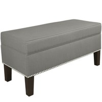 Skyline Furniture Nail Button Storage Bench in Duck Grey