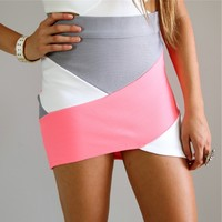 PINK WHITE GREY CROSSOVER COLOUR BLOCKED BANDAGE WRAP TUBE DISCO SKIRT 6 8 10 12