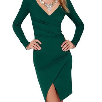 Green Long Sleeve V-neck Wraped Dress