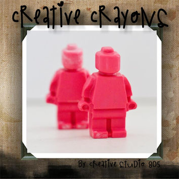 LEGO PEOPLE and BLOCKS - shaped crayons - birthday party favors - baby shower favors - valentines day