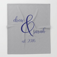 Personalized Fleece Blanket Throw, Couples Gift for Wife, Custom Name Blanket For Him, Navy Wedding Colors, Grey Bedroom Decor