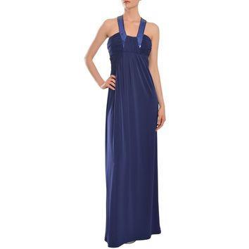 Calvin Klein Women's Blue Jersey-knit Sequin Collar Evening Gown