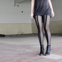 Sheer leggings - industrial black mesh soft grunge goth, modern style sexy street fashion - medium