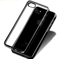 Slim Black Phone Case for Apple iPhone 7 6 Coque Luxury Transparent TPU Silicone Soft Back Cover Case for iPhone 7 plus