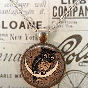 Owl Necklace, Vintage, Moon, Nursery Rhymes, Bird, Birds, Steampunk, Pendant, Owl Pendant, Moon Pendant T626